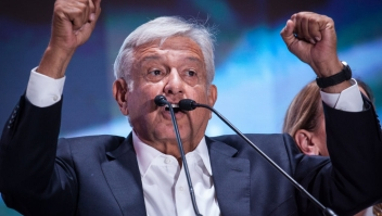 MEXICO CITY, MEXICO - JULY 01: President elect of Mexico, Andres Manuel Lopez Obrador speaks during the celebration event, at the end of the Mexico 2018 Presidential Election on July 1, 2018 in Mexico City, Mexico. (Photo by Pedro Mera/Getty Images)