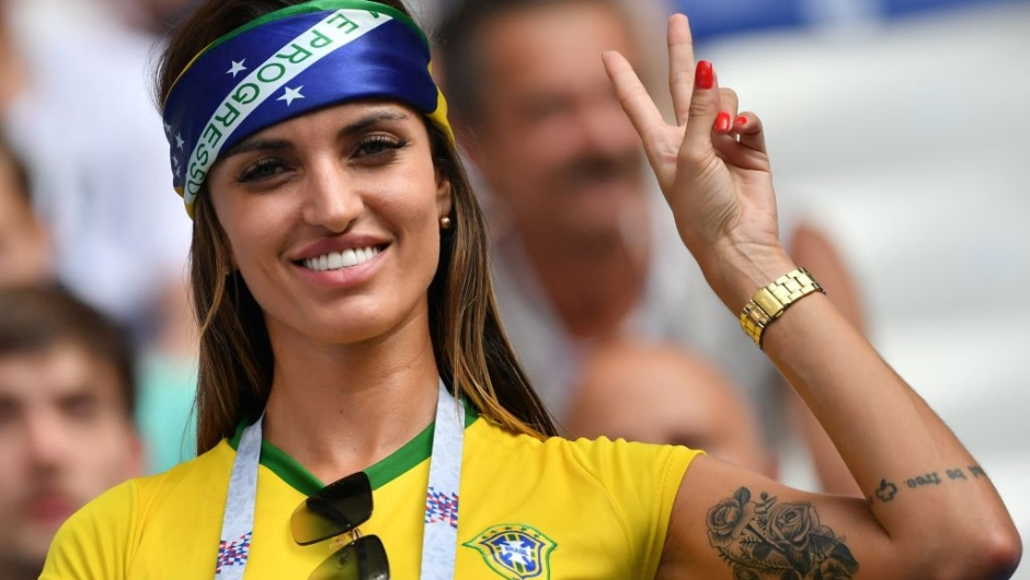 A Brazil fan poses before the Russia 2018 World Cup round of 16 football match between Brazil and Mexico at the Samara Arena in Samara on July 2, 2018. (Photo by EMMANUEL DUNAND / AFP) / RESTRICTED TO EDITORIAL USE - NO MOBILE PUSH ALERTS/DOWNLOADS (Photo credit should read EMMANUEL DUNAND/AFP/Getty Images)
