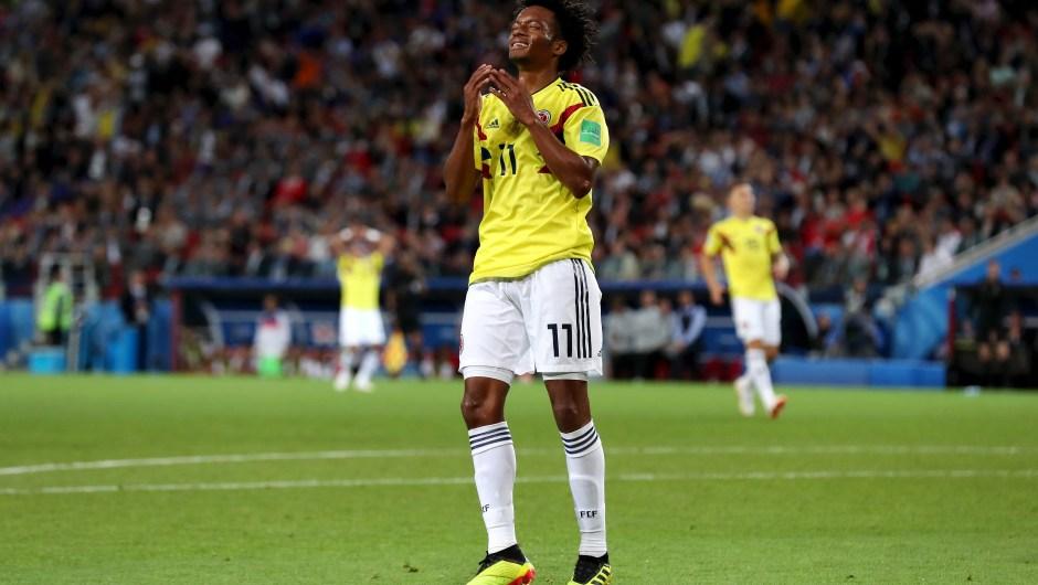Juan Cuadrado reacciona tras fallar un gol en el partido contra Inglaterra. (Crédito: Clive Rose/Getty Images)