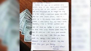Mensaje de una excamarera que pide perdón por haber robado