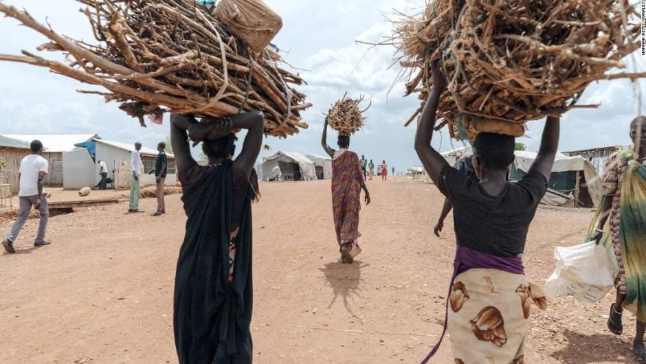 Mujeres de Sudán del Sur tienen que recoger leña del bosque para poder cocinar, pero se enfrentan a la posibilidad de que las violen. (Crédito: Hannah Reyes Morales).