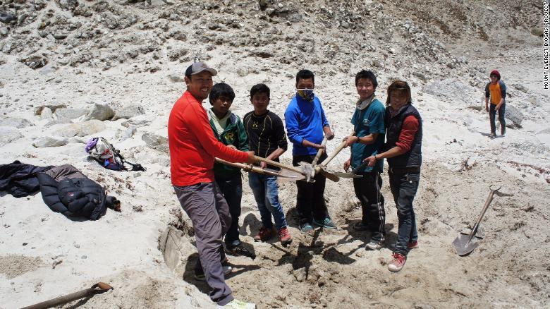 Investigadores del Proyecto de Biogás del Monte Everest prueban el suelo en Gorak Shep.