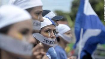Manifestantes en Managua marchan el 28 de julio. Las protestas continuaron este fin de semana.