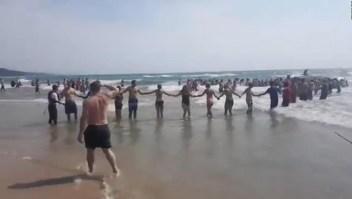 La gente forma una cadena para salvar a bañistas