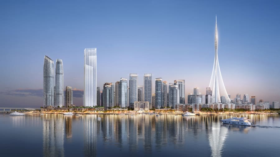 La torre de 62 pisos The Grand es parte de los planes residenciales de Dubai Creek Harbour. El megaproyecto de Dubai Creek albergará a unas 200.000 personas, dice el desarrollador Emaar.