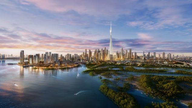 Dubai Creek Harbour está situado al este del centro de Dubai y se encuentra junto al santuario de vida silvestre Ras al Khor.