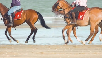 Correr en la playa, así se galopa en Deauville