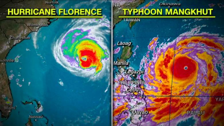 Las imágenes satálite del miércoles muestran los tamaños comparativos de Florence y Mangkhut.