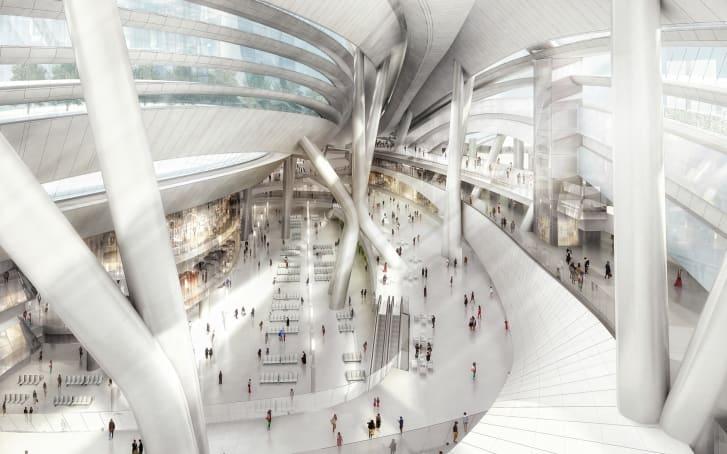 La estación está conectada al sistema de metro de la ciudad a través de pasarelas y subterráneos. (Crédito: cortesía Aedas)