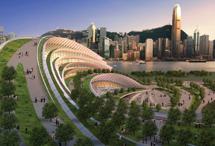 La estación tiene vistas del horizonte central de Hong Kong y Victoria Peak. (Crédito: cortesía Aedas)