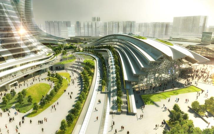 La estación se encuentra al norte del Distrito Cultural de West Kowloon. (Crédito: cortesía Aedas)