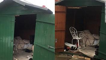 Funcionarios de Reino Unido publicaron esta foto del cobertizo donde se cree que vivió el hombre.