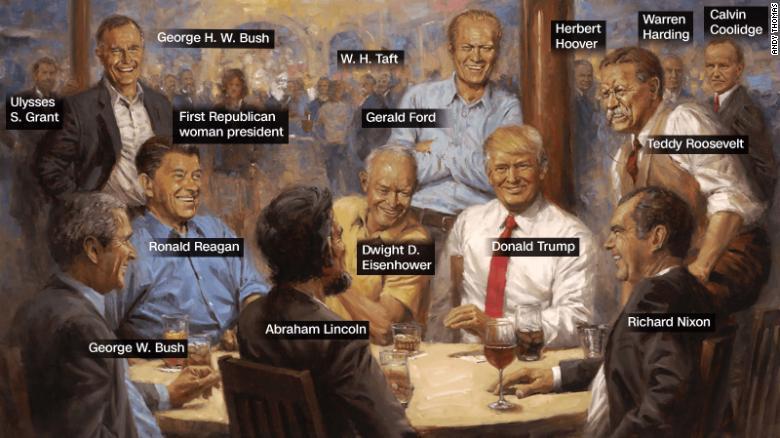 Pintura con todos los presidentes republicanos que cuelga en la Casa Blanca de Trump.