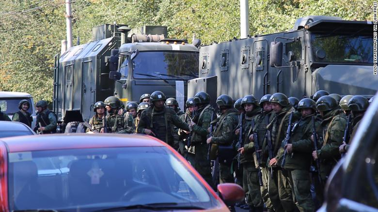 CRIMEA, RUSSIA - OCTOBER 17, 2018: Law enforcement officers at the site of a bomb blast at a college in the Crimean city of Kerch; at least ten people have been killed in the explosion, over fifty have been injured. Yekaterina Keizo/TASS (Credit Image: ?? Keizo Yekaterina/TASS via ZUMA Press)