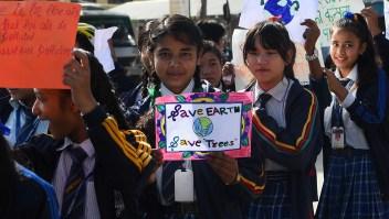 Manifestación a favor de acciones contra el cambio climático.