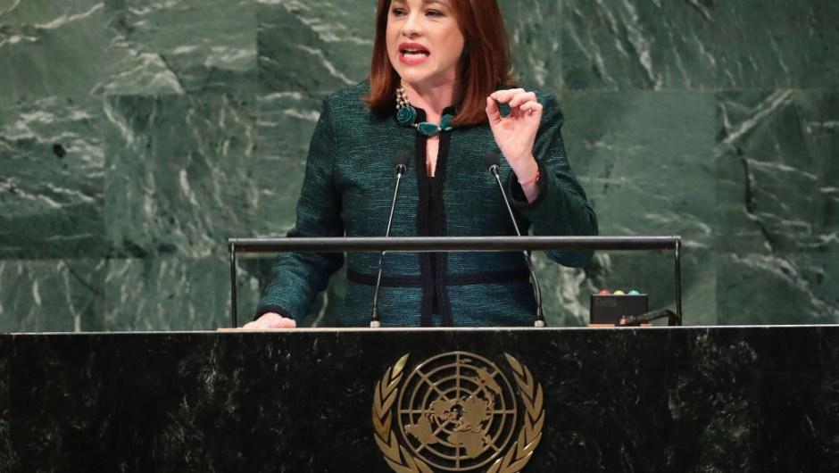 María Fernanda Espinosa Garcés, presidenta de la Asamblea General de la ONU, habla el 25 de septiembre de 2018 en la ciudad de Nueva York. Crédito: John Moore / Getty Images