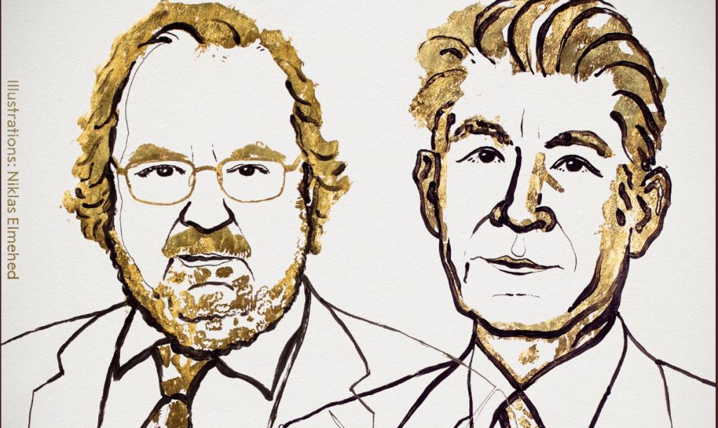 James P. Allison y Tasuku Honjo, Nobel de Medicina 2018, en la imagen difundida por el comité del Nobel. (Crédito: Twitter).