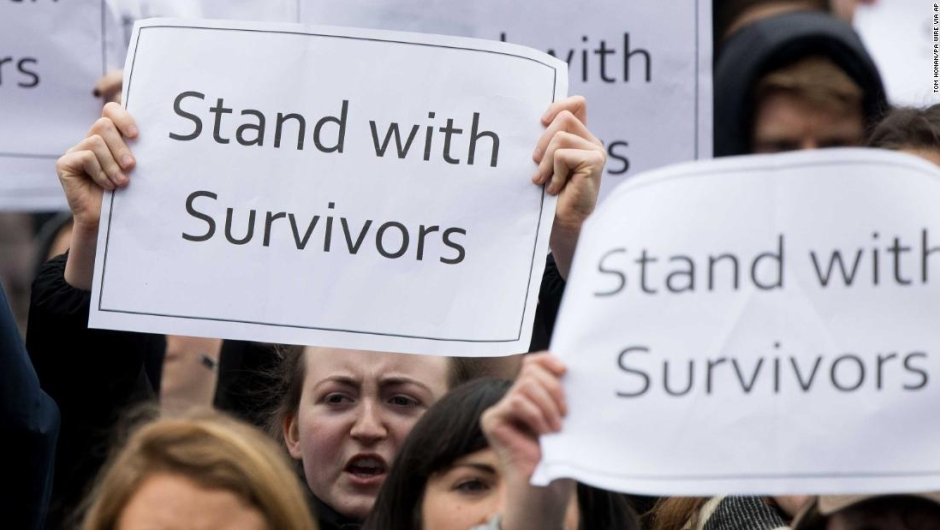 Irish protest. People take part in a protest in Dublin, in support of the woman at the centre of a rape trial after two Ireland ruby players were acquitted. Picture date: Saturday March 31, 2018. See PA story ULSTER Rugby. Photo credit should read: Tom Honan/PA Wire URN:35814103