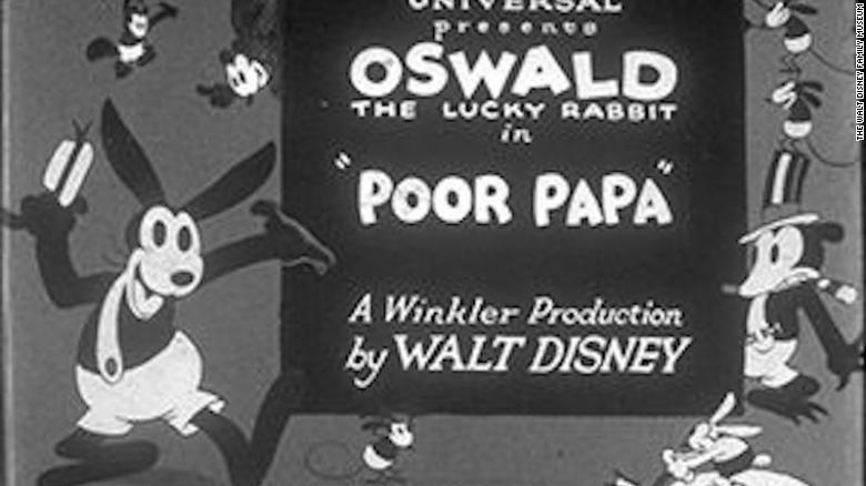 La pantalla de título de 'Poor Papa', otra animación de Disney con el personaje Oswald the Lucky Rabbit.