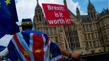 Protestas en contra del brexit a las puertas del Parlamento Británico. (Crédito: Dan Kitwood/Getty Images)