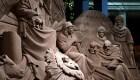 El Nacimiento del niño Jesús esculpido en arena
