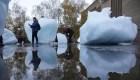 Hielo derretido en calles de Londres advierte sobre el cambio climático