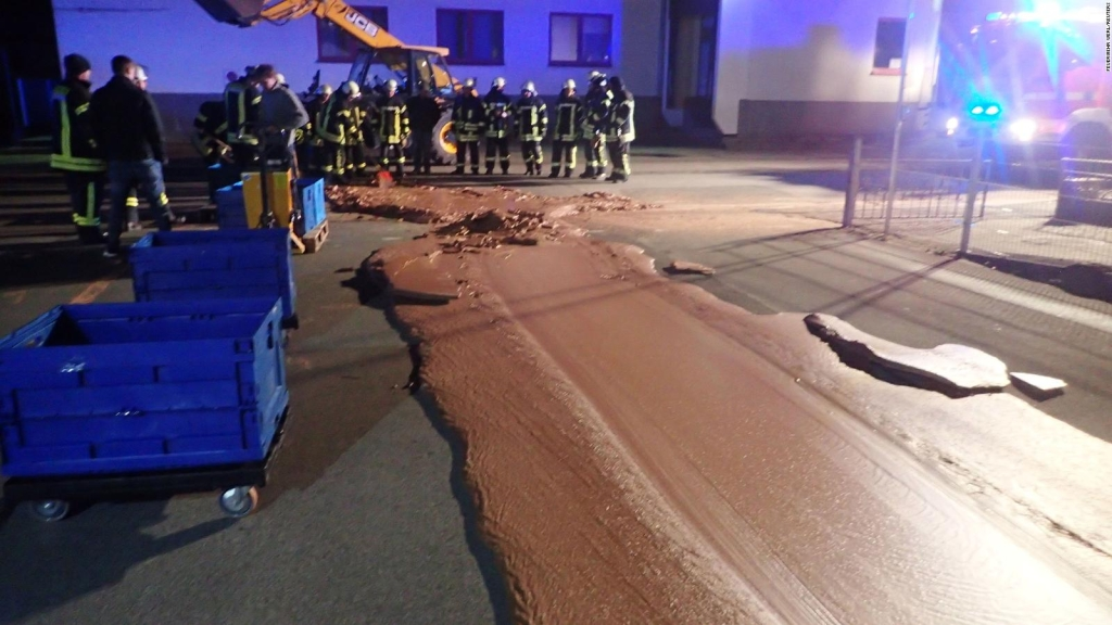 Un derrame de chocolate una calle en Alemania