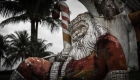 Navidad fantasmagórica: un parque abandonado con temática de Papá Noel
