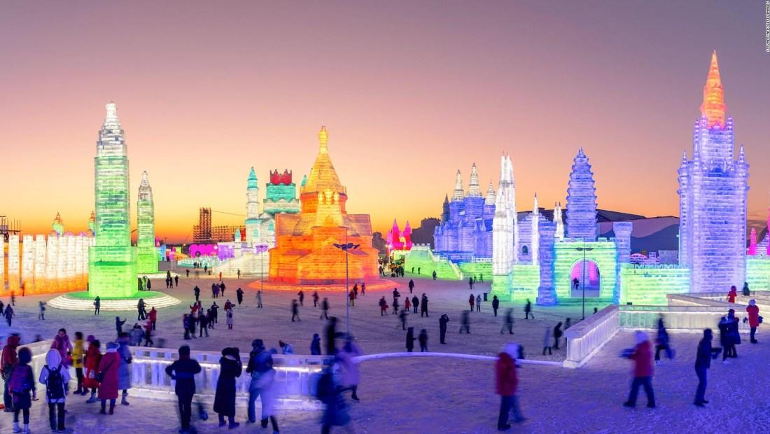 El Festival Internacional de Esculturas de Hielo y Nieve de China está casi listo