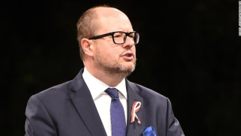 epa07282543 (FILE) - Mayor of Gdansk Pawel Adamowicz speaks during the ceremony marking 78th anniversary of World War II outbreak in Westerplatte, in Gdansk, Poland, 01 September 2017 (reissued 14 January 2019). Adamowicz was attacked with a sharp instrument by an unknown assailant, during the concert associated with the 27th finale of the Great Orchestra of Christmas Charity in Gdansk on 13 January 2019. Adamowicz was reported to be in a serious condition. EPA-EFE/ROMAN JOCHER POLAND OUT