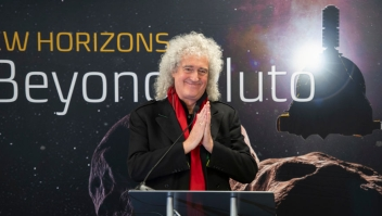 LAUREL, MD - DECEMBER 31: In this handout provided by NASA, Brian May, lead guitarist of the rock band Queen and astrophysicist discusses the upcoming New Horizon's flyby of the Kuiper Belt object Ultima Thule, Monday, December 31, 2018 at Johns Hopkins University Applied Physics Laboratory (APL) in Laurel, Maryland. (Photo by Bill Ingalls/NASA via Getty Images)