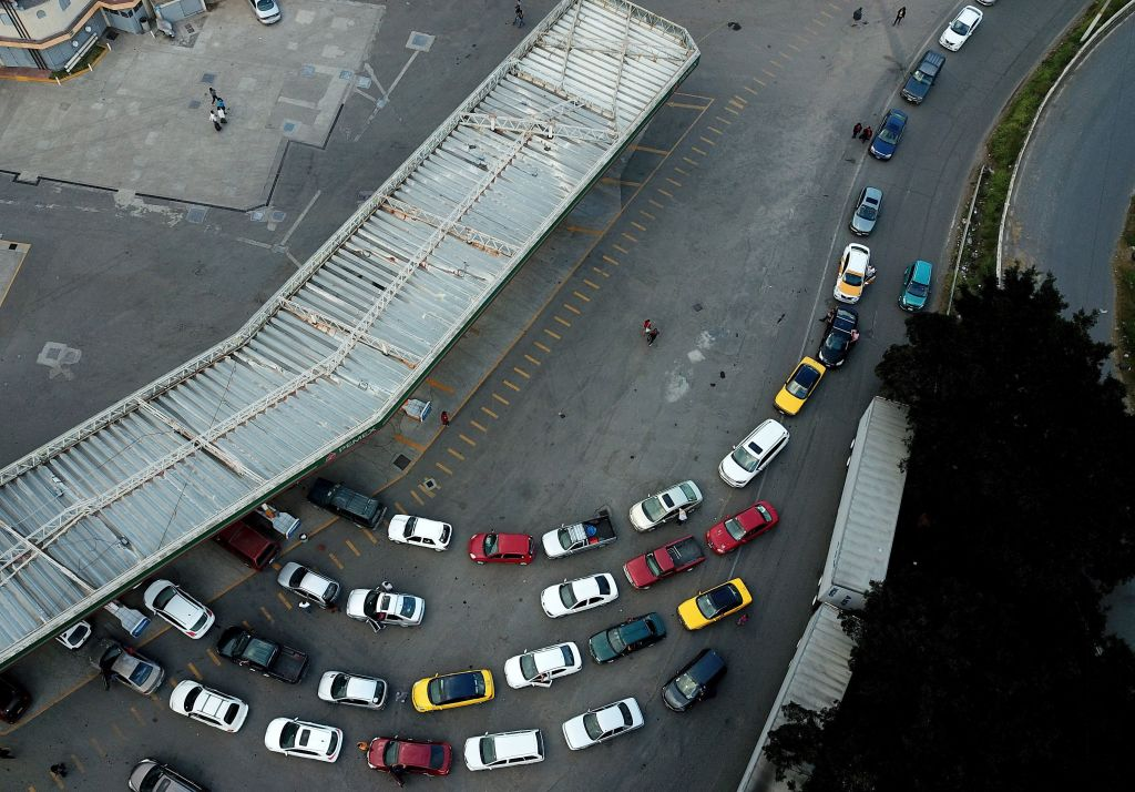 Motorists wait in line for hours to buy gasoline at a Pemex service station in Guadalajara, Jalisco state on January 13, 2019. - Earlier this week President Andres Manuel Lopez Obrador urged Mexicans not to panic as gasoline shortages spread across the country, caused by a crackdown on fuel theft that risks backfiring badly. The president said the shortages were triggered by his administration's decision to temporarily close some of state oil company Pemex's pipelines -- part of his bid to wipe out rampant fuel theft that cost the country an estimated $3 billion in 2017. (Photo by ULISES RUIZ / AFP) (Photo credit should read ULISES RUIZ/AFP/Getty Images)