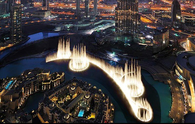 La coreografía de la fuente gigante de Dubai