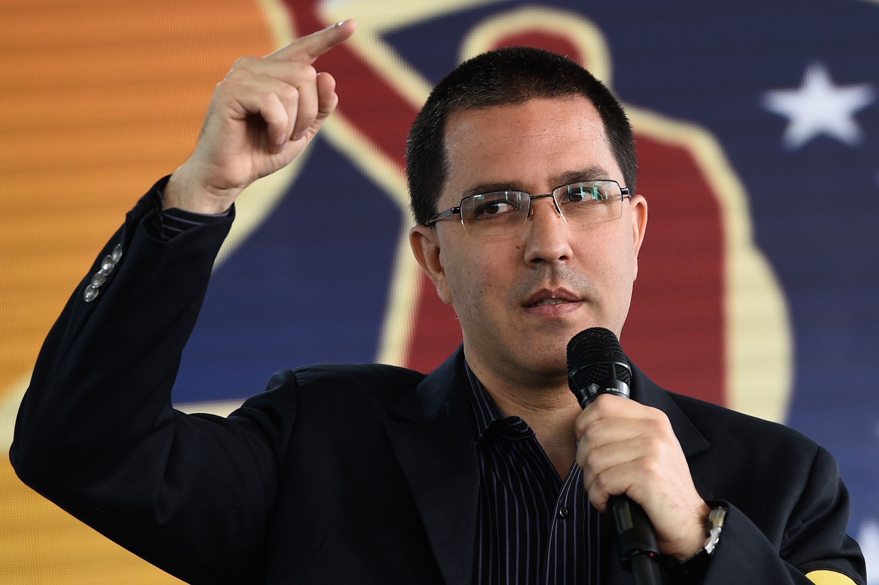 "Venezuela's Foreign Minister Jorge Arreaza delivers a speech during a commemoration for the ""27th Anniversary of the Military Rebellion of the 4FEB92 and National Dignity Day"", at the Foreign Ministry in Caracas, on February 4, 2019. - The United Nations will not join any group of nations promoting initiatives to resolve the crisis in Venezuela, the UN chief said Monday, indicating he will not attend a meeting in Uruguay this week of several countries. Mexico and Uruguay had hoped that UN Secretary-General Antonio Guterres would attend a conference in Montevideo on Thursday aimed at promoting dialogue between Venezuela's President Nicolas Maduro and opposition leader Juan Guaido. (Photo by Federico PARRA / AFP) (Photo credit should read FEDERICO PARRA/AFP/Getty Images)"