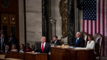 WASHINGTON, DC - FEBRUARY 05: President Donald Trump delivers the State of the Union address in the chamber of the U.S. House of Representatives at the U.S. Capitol Building on February 5, 2019 in Washington, DC. President Trump's second State of the Union address was postponed one week due to the partial government shutdown. (Photo by Zach Gibson/Getty Images)