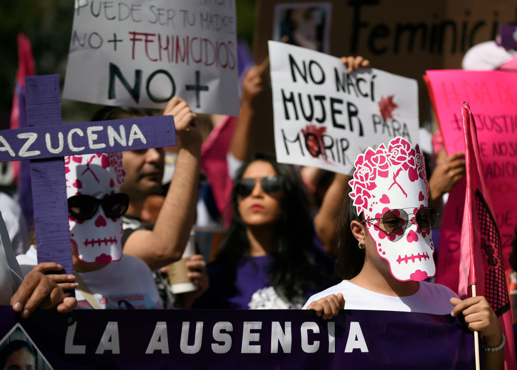 Relatives of missing women and activists hold a demonstration against feminicides and violence against women at Reforma avenue in Mexico City on November 3, 2018. (Photo by ALFREDO ESTRELLA / AFP) (Photo credit should read ALFREDO ESTRELLA/AFP/Getty Images)