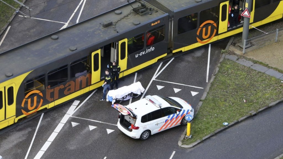 ALTERNATIVE CROP - Special Police forces inspect a tram at the 24 Oktoberplace in Utrecht, on March 18, 2019 where a shooting took place. - A gunman opened fire on a tram in the Dutch city of Utrecht on March 18, 2019, killing at least one person and wounding several in what officials said was a possible terrorist incident. (Photo by Ricardo Smit / ANP / AFP) / Netherlands OUT / ALTERNATIVE CROP (Photo credit should read RICARDO SMIT/AFP/Getty Images)