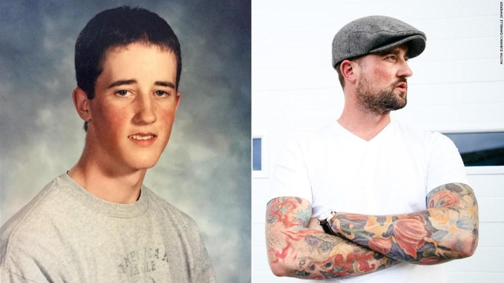 Austin Eubanks, en una imagen de su época escolar y en una más actual.
