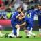 Olivier Giroud del Chelsea celebra el primer gol del partido ante el arsenal