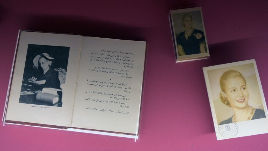 """View of an arabic translation of the book """"La razon de mi vida"""" (The Reason for My Life) writen by former Argentina's First Lady (1946-1952) Eva Peron (1919-1952), exhibited at the Evita Museum, in Buenos Aires on May 6, 2019. - May 7th marks the 100th anniversary of Eva Duarte de Peron's (Evita) birth, who was called the """"standard-bearer of the humble"""". (Photo by JUAN MABROMATA / AFP) (Photo credit should read JUAN MABROMATA/AFP/Getty Images)"""