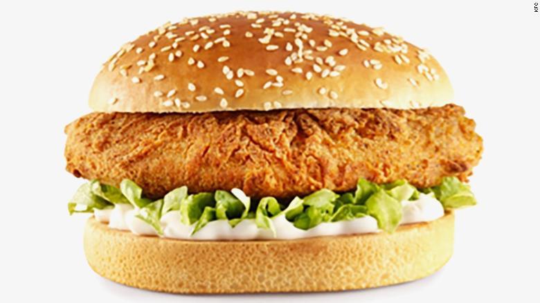 KFC, hamburguesa, sin carne