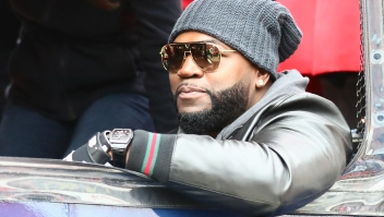 BOSTON, MA - OCTOBER 31: Former Boston Red Sox player David Ortiz looks on during the Boston Red Sox Victory Parade on October 31, 2018 in Boston, Massachusetts. (Photo by Omar Rawlings/Getty Images)