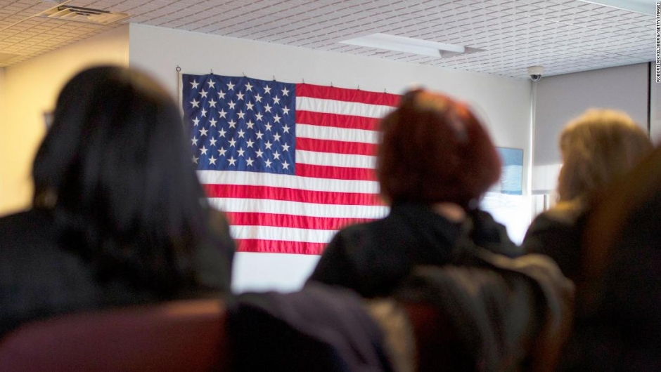 NEWARK, NEW JERSEY - FEBRUARY 16: Candidates for US citizenship listen to speeches during a naturalization ceremony for new US citizens February 16, 2017 in Newark, New Jersey. Eighty-nine applicants from thirty-seven countries received their certificates of citizenship. (Photo by Robert Nickelsberg/Getty Images)