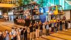 Enorme cadena humana en Hong kong