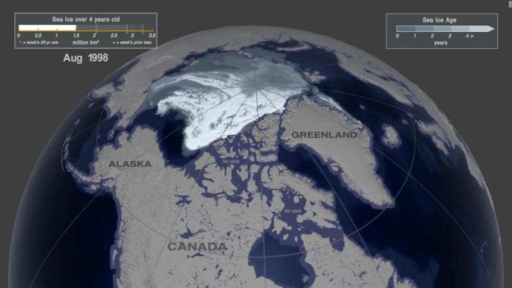 Imágenes satelitales de la NASA muestran el derretimiento del hielo ártico
