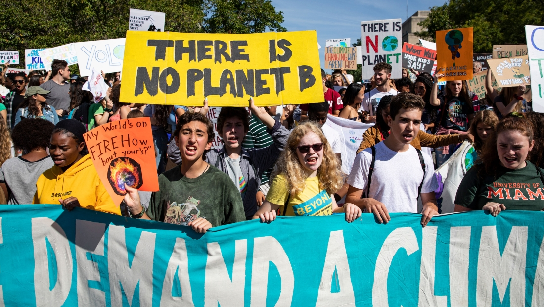 WASHINGTON, DC - SEPTEMBER 20: Activists gather in John Marshall Park for the Global Climate Strike protests on September 20, 2019 in Washington, United States. In what could be the largest climate protest in history and inspired by the teenage Swedish activist Greta Thunberg, people around the world are taking to the streets to demand action to combat climate change. (Photo by Samuel Corum/Getty Images)