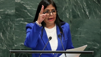 NEW YORK, NY - SEPTEMBER 27: Vice President of Venezuela Delcy Rodriguez addresses the United Nations General Assembly at UN headquarters on September 27, 2019 in New York City. World leaders from across the globe are gathered at the 74th session of the UN General Assembly, amid crises ranging from climate change to possible conflict between Iran and the United States. (Photo by Drew Angerer/Getty Images)