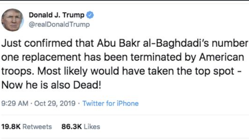 Trump anuncia que muere el segundo al mando de ISIS