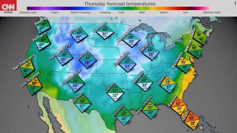 pronostico frio temperaturas jueves ola invernal estados unidos