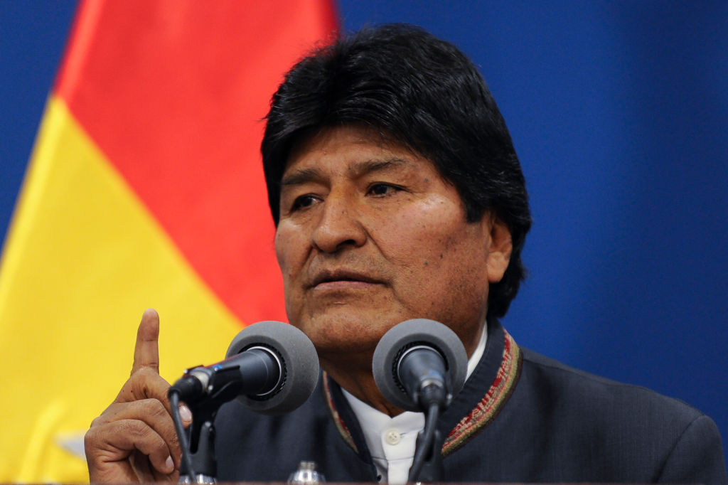 Bolivia's President Evo Morales delivers a press conference in La Paz on October 31, 2019. - A technical mission from the Organization of American States (OAS) began on Thursday its audit of the disputed Bolivian presidential election that delivered Evo Morales a fourth term but sparked deadly riots. (Photo by JORGE BERNAL / AFP) (Photo by JORGE BERNAL/AFP via Getty Images)